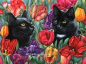 Black Cat and Tulips Irina Garmashova